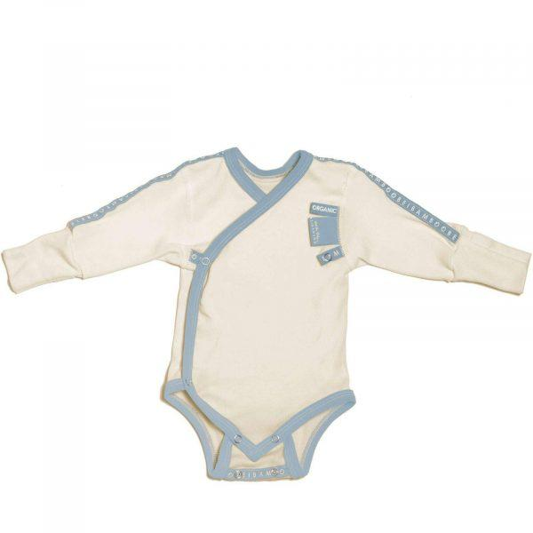 ecological newborn Baby Grow wraparound light blue baby boy